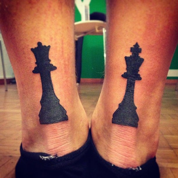 King and queen chess piece tattoos. Imagine these as a couple's tattoo set done on the backs of their shoulders!