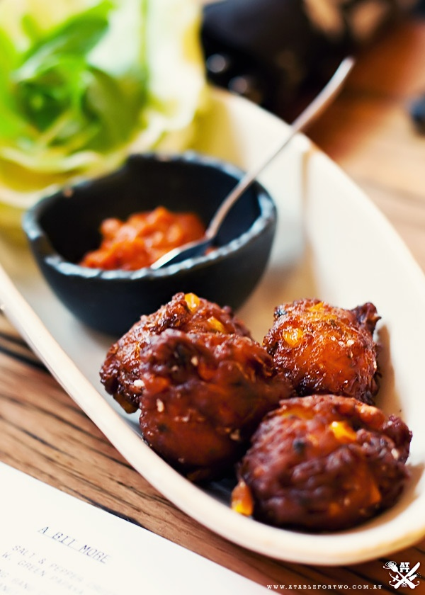 spicy corn and coriander fritters w/ iceberg lettuce and our chilli jam  @ Chin Chins, Melbourne