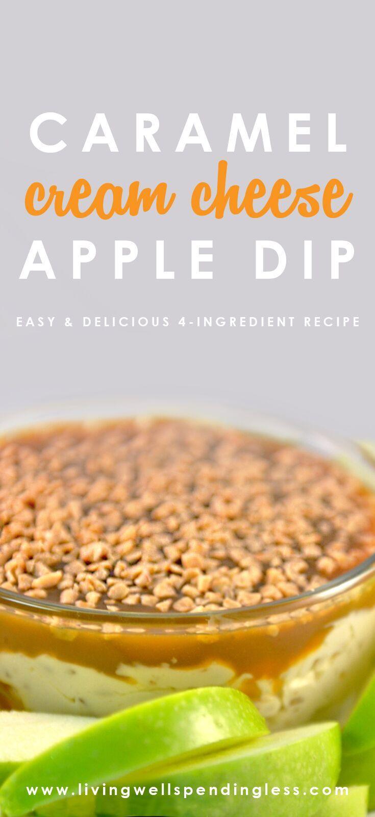 Easy Caramel Cream Cheese Apple Dip Recipe   Best Snack Recipes   Fall Dessert Ideas via lwsl