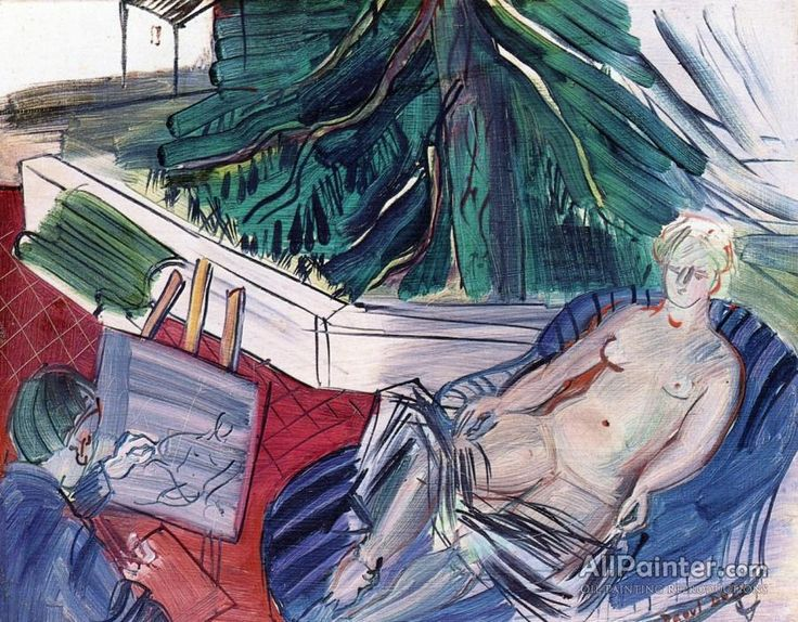 Raoul Dufy,The Painter And His Model On The Terrace At Caldas De'montbuy oil painting reproductions for sale