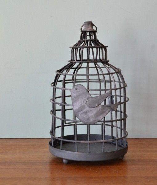 Vintage style metal candle holder lantern bird