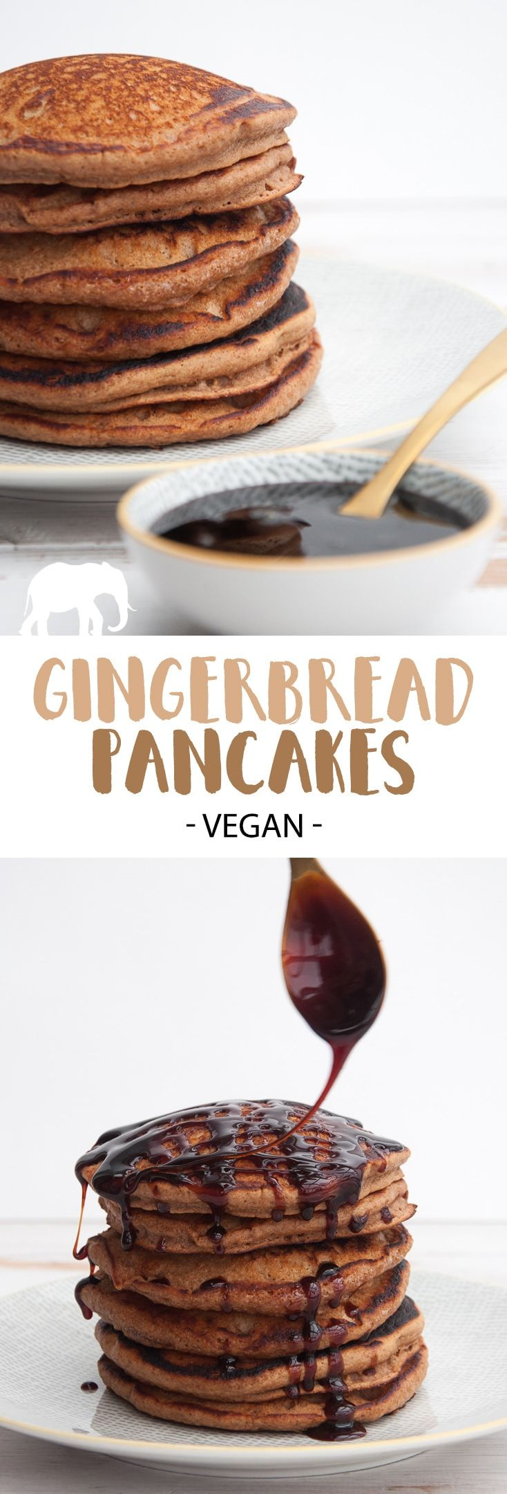 Vegan Gingerbread Pancakes with date syrup | ElephantasticVegan.com #vegan #gingerbread #pancakes #christmas via @elephantasticv