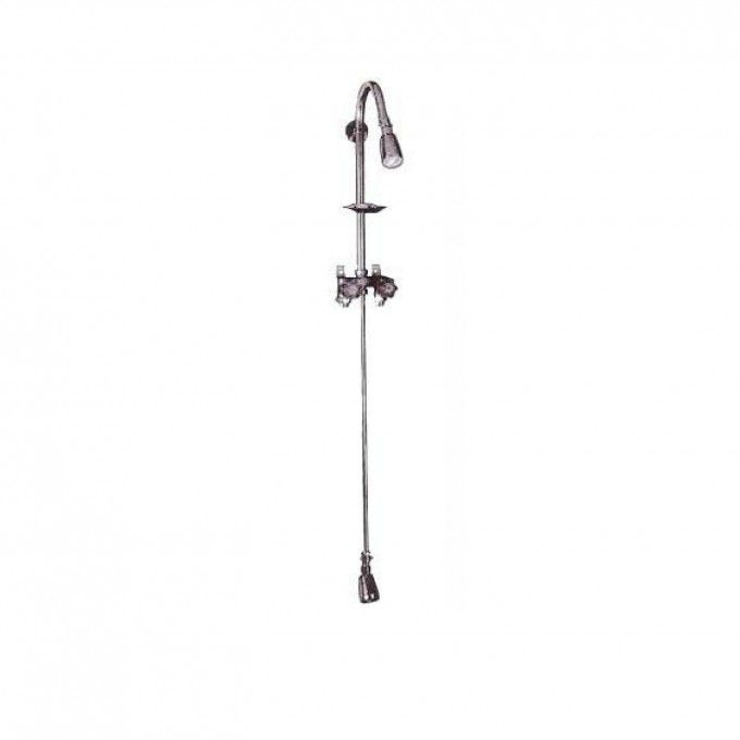 Economy Exposed Outdoor Shower Kit with Foot Shower - Chrome - Bathroom