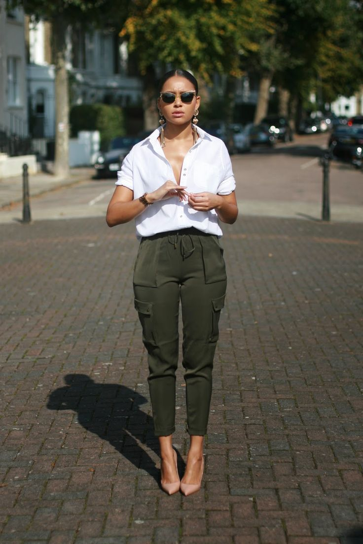 Image Via: Young Hearts Run Free | White button up top | Army green straight cargo pants | Nude court heels