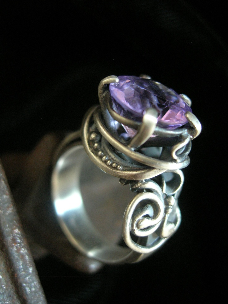 Ring | Brittany foster.  Silver and amethyst.