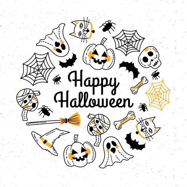 Hand Drawn Happy Halloween Greeting Card Template Free Vector Free Vector Freepik Vecto Happy Halloween Signs Halloween Coloring Book Happy Halloween Cards