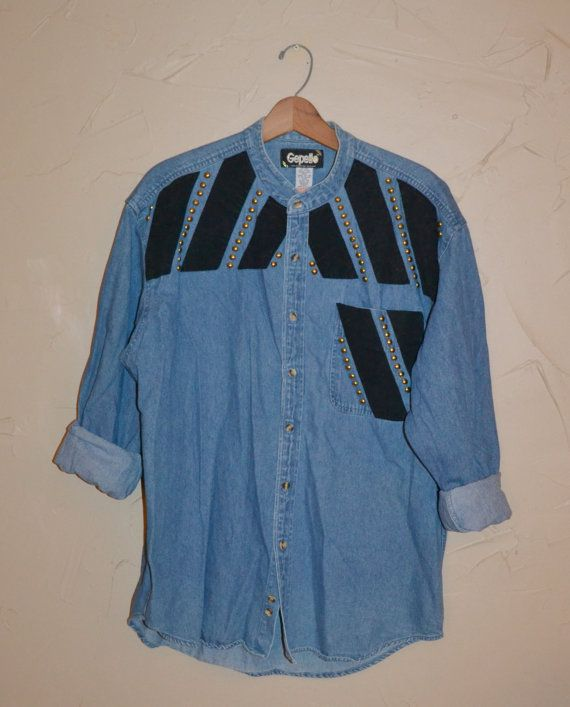 Vintage 80s Denim Shirt Dress Long Denim Shirt by founditinatlanta