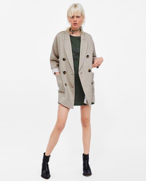 Image 1 of LINEN COAT from Zara