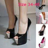 Wish | extreme high heels Denim Style women high heel pumps platform shoes sexy peep toe dress party shoes ladies footwear Spiral