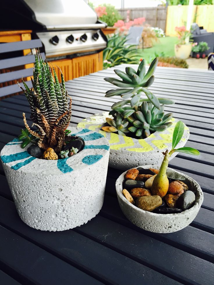 Cement planters - couldn't let everyone else have all the fun!
