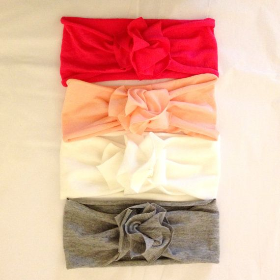 Jersey Flower Baby Girl Headband - gray - baby girl headband -pink - purple - white - jersey knit - t-shirt - bow - tie knot - stretchy on Etsy, $7.95