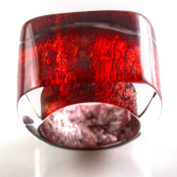 Red metallic with abstract scrawl. From new ring collection.