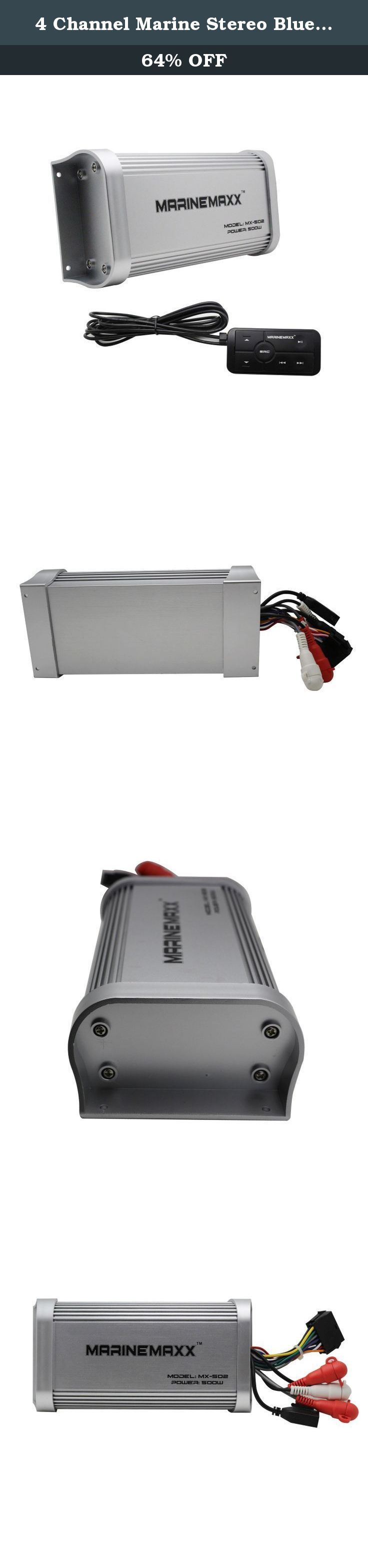 4 Channel Marine Stereo Bluetooth Amplifier USB AUX IN RCA Output Boat ATV UTV RZR. Features: *Weather Proof 500 W MAX Power, 4 Channel 94 W X 4 RMS @ 4 ohm *Full Range, Class A/B, Aux Input, Low Level Inputs, RCA Pre-amp Outputs *Bluetooth Audio Streaming - play music and apps like Spotify/Pandora wirelessly *Inline Multi-Function Illuminated Remote Specifications: BLUETOOTH: BT:3.0 BT Range: 33FT/10 M(Class 2) BT Profiles: A2DP AMPLIFIER: Channels:4 MAX Continuous Output: 500W(All…