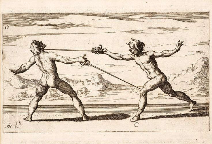 Figura huelgas en la Quarta de la garganta en una Passata del pie izquierdo (Pl 18) por Ridolfo Capoferro y Raffaello Schiaminossi (1610)  FORMATOS DISPONIBLES:  * Hoja tamaño: 13 x 19 (imagen: 10 x 14,7) * Hoja tamaño: 9.5 x 13 (imagen: 7,4 x 11)  Archivo Inkjet sobre papel de arte fino Acabado mate - bordes blancos - superficie texturizada  SINOPSIS  Una ilustración del Tratado de Ridolfo Capoferro de 1610 la esgrima de ropera, Gran Simulacro del arte e delluso della Scherma, o Gran…