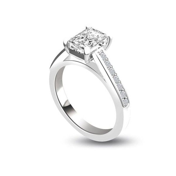ANELLO DI FIDANZAMENTO SOLITARIO COMPOSTO CON DIAMANTE SUL GAMBO 18CT ORO BIANCO   Solitario Composto con 14 diamanti laterali. Il peso totale dei carati per questo anello varia da 0.35ct a 0.55ct, con il diamante centrale disponibile da 0.21ct a 0.41ct. Il diamante centrale e` Taglio Smeraldo e i 14 diamanti laterali sono Taglio Brillante. I 14 diamanti laterali sono 0.01ct ciascuno per un totale di 0.14ct e sono montati a griffe.