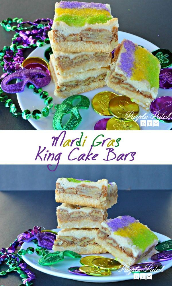 Instead of making a king cake, try making these king cake bars for Mardi Gras