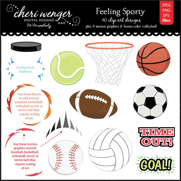 An awesome set of high quality sports clip art featuring dimensional graphics without complex gradients, which makes these suitable for embroidery. Gradients only provided on motion design elements. Pair these elements with the balls to creation feeling of movement or action. Colors and sizing can be edited in eps files to make changes or scale to larger sizes without compromising quality