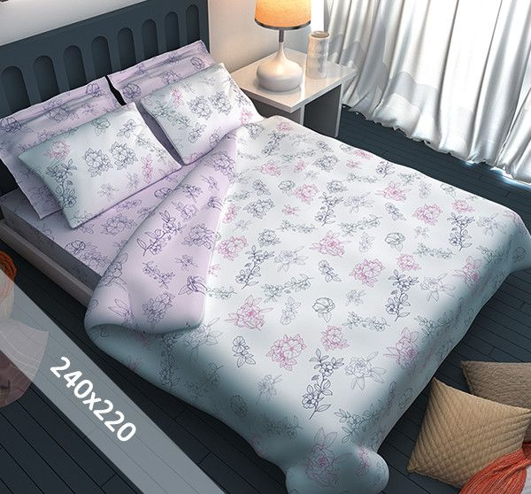 Sofiben dekbedovertrek 'Floresse'. Een lits-jumeaux (240x220 cm) dekbedovertrek van 70% katoen en 30% polyester, voorzien van een rits. Het dekbedovertrek heeft een witte basis met daarop getekende bloemen in paars, lila en lichtgroen.
