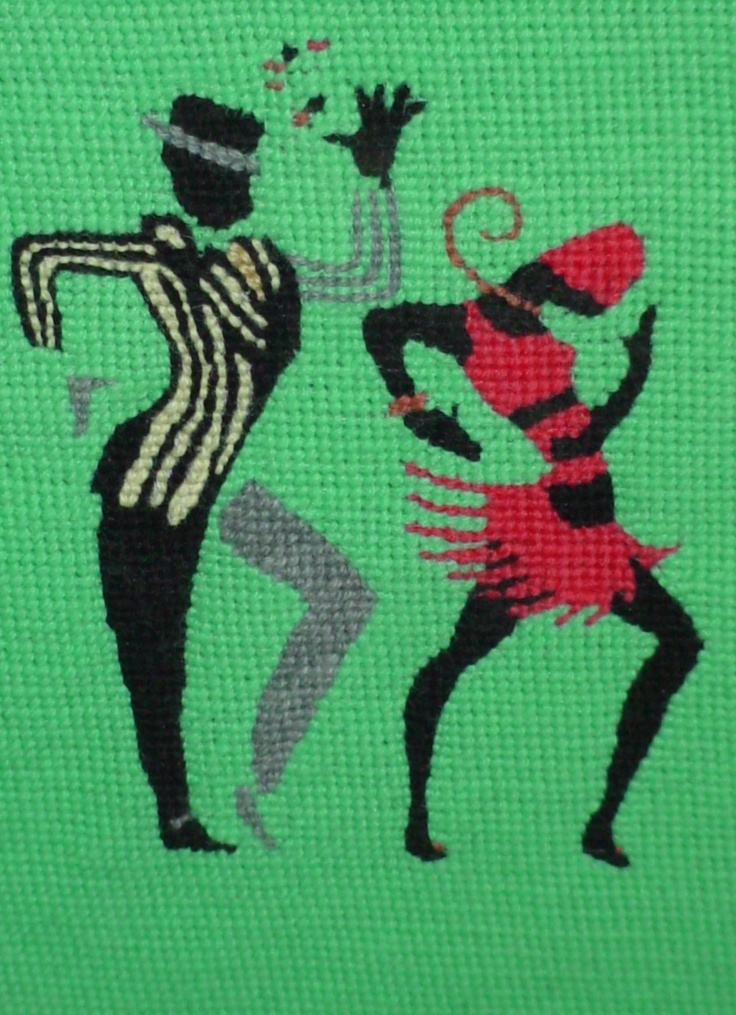 Original Needlepoint art by Paul Tartanella:   Dancers 1