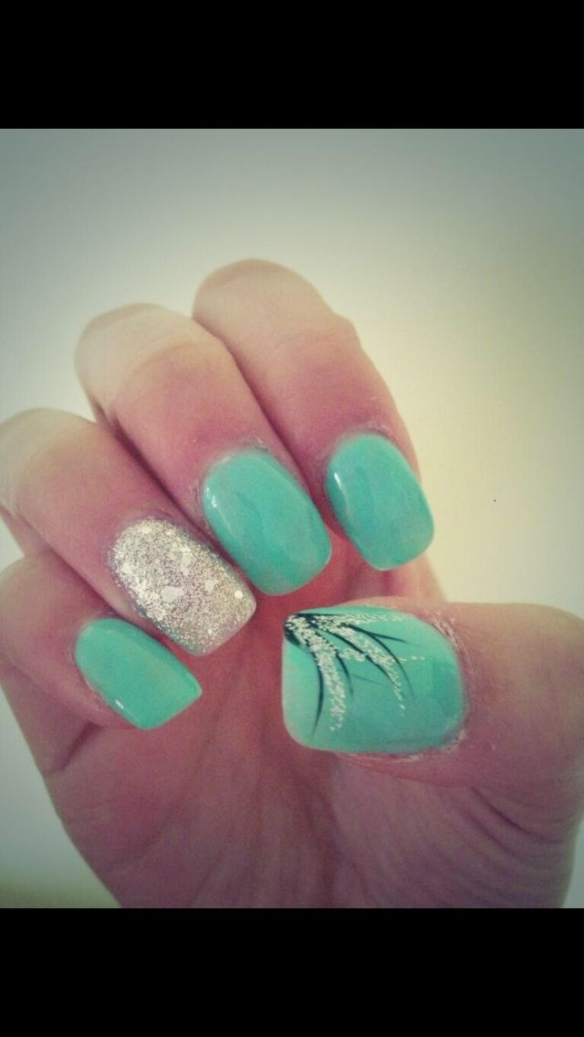 Turquoise nails + feather design+ sparkle