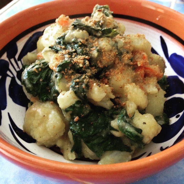 Gnocchi with a Cauliflower Cream Sauce and Chaya: Vegan!