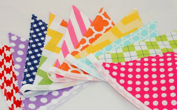 Bunting Banner  Rainbow Bunting Flags  Pink by BeautifulThinkingUK