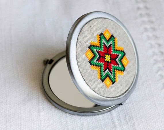Compact mirror with ethnic embroidery  cross stitch  by skrynka, $45.00