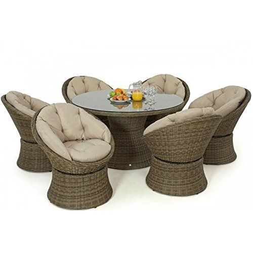 Dorset Rattan Garden Furniture 6 Seat Swivel Dining Set