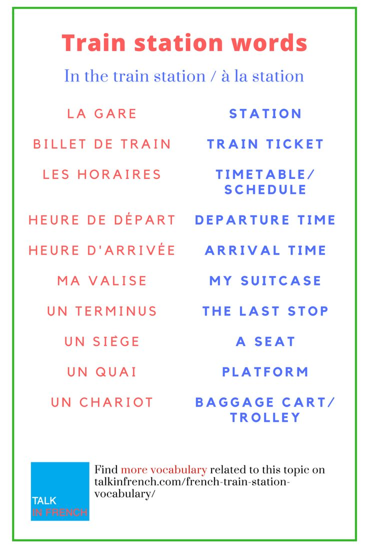 Stock up on your French vocabulary with useful words and phrases related to trains and train stations. Ideal when you're travelling to a French-speaking destination. + downoad the list in PDF format for free! Get it here:  https://www.talkinfrench.com/french-train-station-vocabulary/