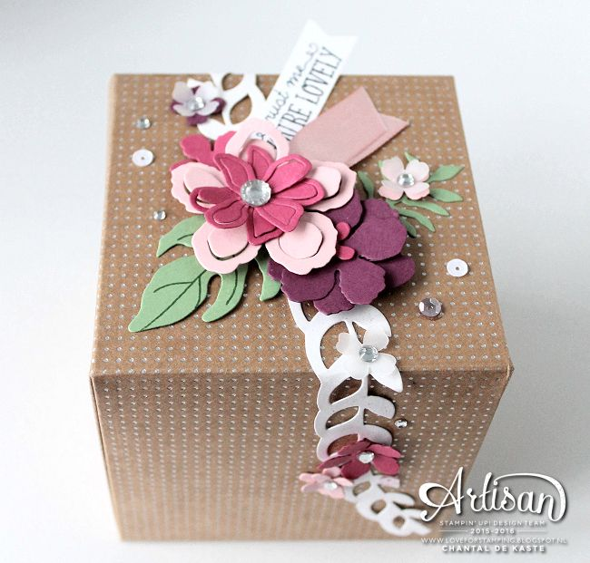 Chantal's box: Botanical Blooms, You're So Lovely, Shine On dsp, Gift Box Punch Board, Botanical Gardens Jewels, Botanical Builder framelits - all from Stampin' Up!