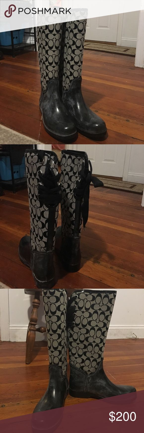 Authentic coach rain boots Size 9. Fur on the inside. Don't ask why the bottom of the boots have white on it. It's not dirt. They're not dirty they're in excellent condition. They've been like that since I bought them. Shoes Winter & Rain Boots