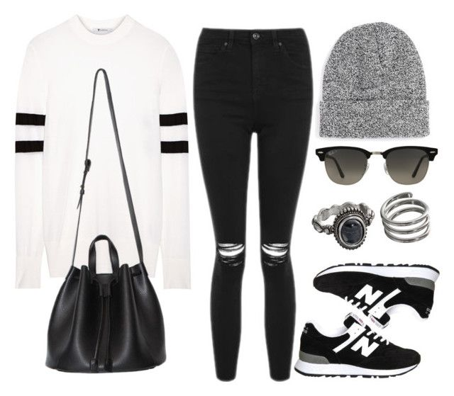 """Style #11598"" by vany-alvarado ❤ liked on Polyvore featuring T By Alexander Wang, New Balance, Topshop, Topman, Ray-Ban and Mudd"