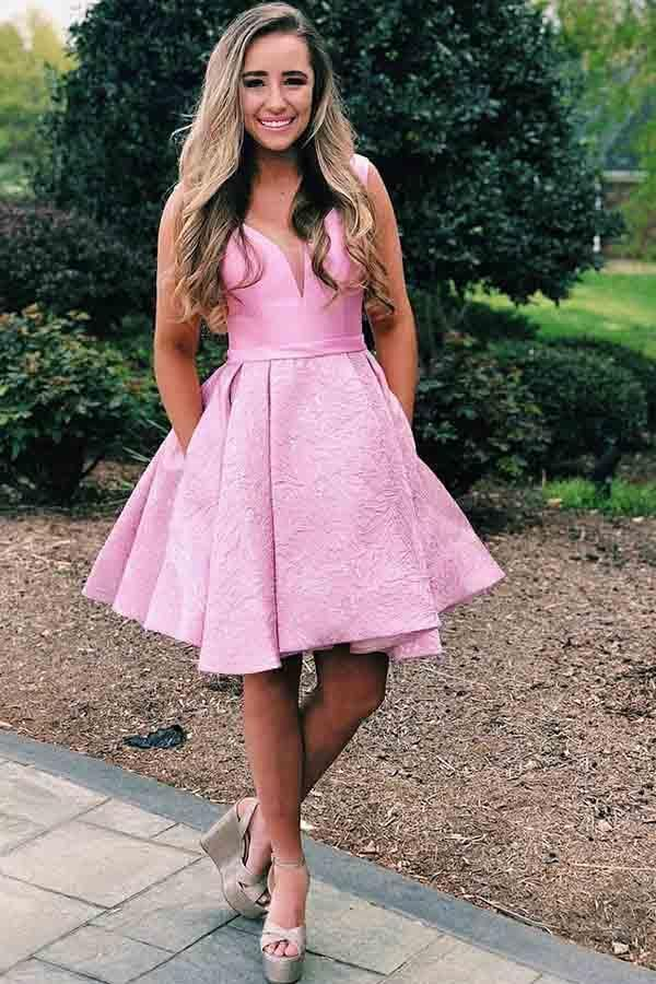 f421906019c Pink Short Homecoming Dress