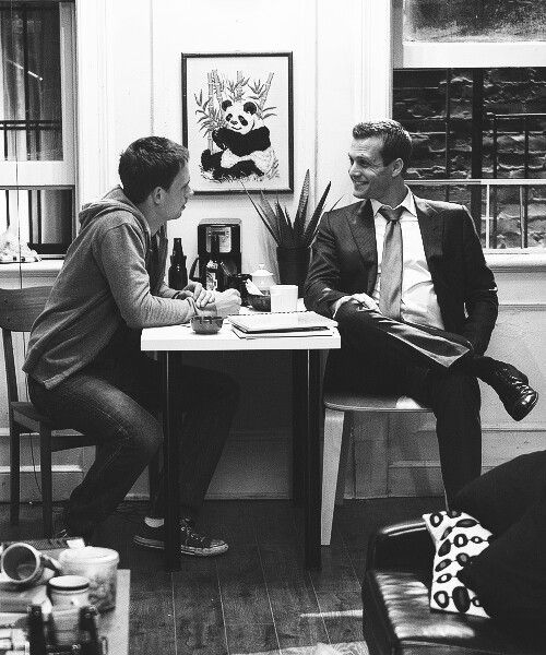 Patrick J Adams (Mike) and Gabriel Macht (Harvey) on the set of Suits.