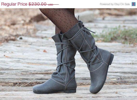 Winter Sale 35% Free Shipping Stonewash Leather Boots by BangiShop