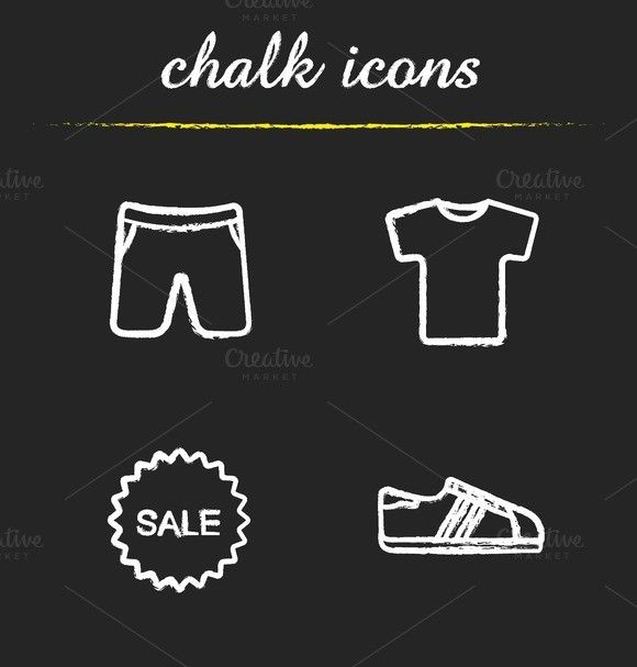 Sport clothes sale. 4 icons. Vector. Sport Icons. $3.00