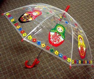 "Matreshka Transparent Umbrella for Kids,  26"""
