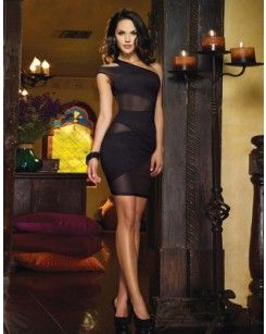 Black Mesh One Shoulder Mini Dress