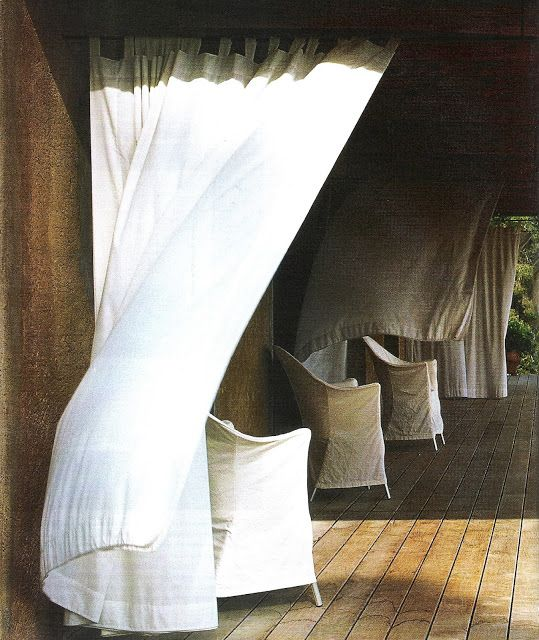 White Panels Blowing In The Wind Exteriors Gardens Pinterest Outdoor Curtains And Exterior
