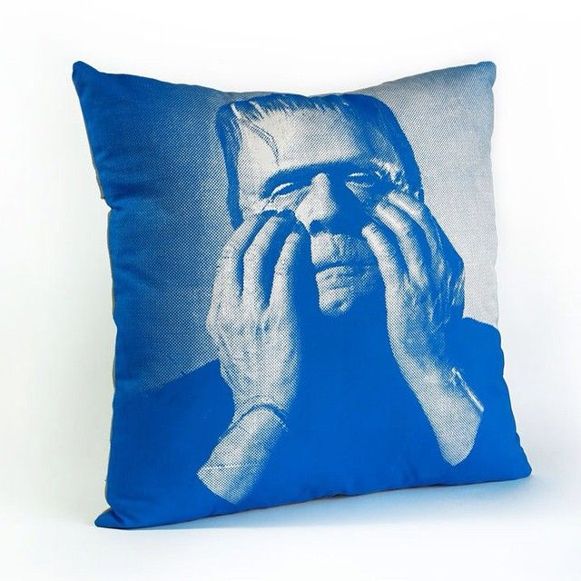 """""""Frankenstein Pillow  Printed on cotton canvas.  Colors can be customised #ylayastudio #pillows #homeaccessories"""""""