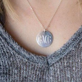 "Custom Sterling Silver 1"" #Monogram Necklace We love the larger size monogram necklace.  This sterling #silver necklace is a bit larger size and makes a great present for mot... #monogram #prep #personalized #engraved #graduation #jewerly #necklace ➡️ http://www.thepersonalexchange.com/products/sterling-silver-monogrammed-necklace-with-1-disc?utm_campaign=products&utm_content=2b73de27ae934862afa713ba25926d75&utm_medium=pinterest&utm_source=sellertools"