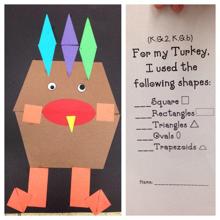 Kindergarten Common Core Math - Thanksgiving Geometric Turkey Art (shapes)