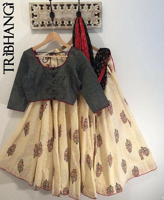 Cream Jaipur block print gopi skirt/lehenga with readymade choli_Tribhangi_Etsy