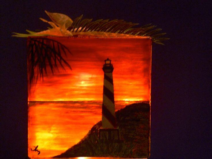 Glass Block lighthouse sunset