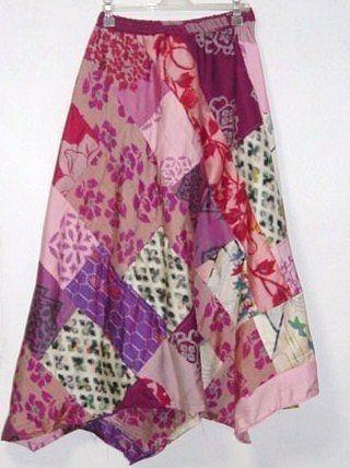 ピンク系銘仙斜めパッチスカート*イレギュラーヘム - SonaSona着物リメイク