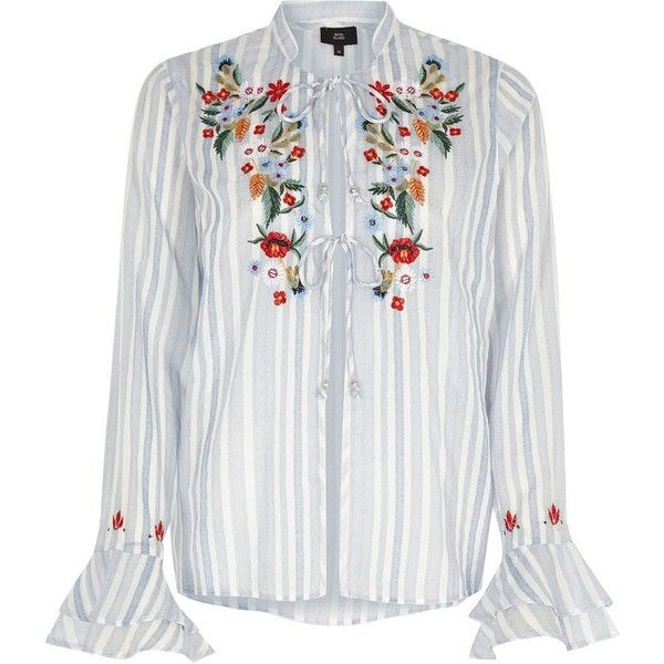 River Island Blue stripe embroidered frill pajama top ($20) ❤ liked on Polyvore featuring blue, nightwear & slippers, sale, women and river island