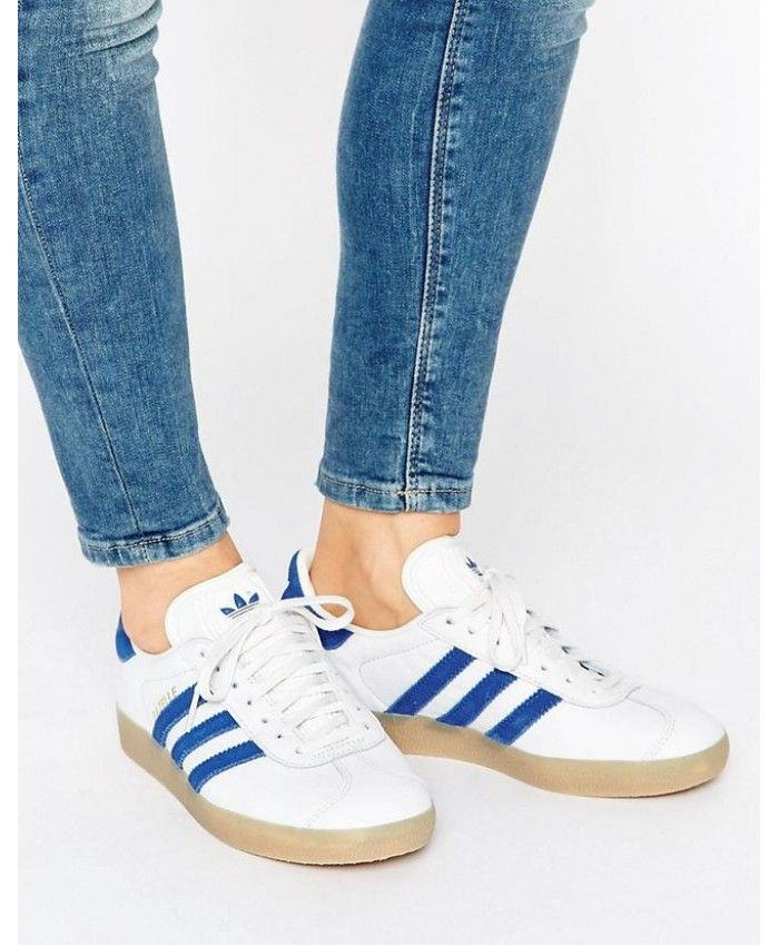 brand new ae048 55311 Adidas Gazelle Womens Trainers In White Blue With Gum Sole