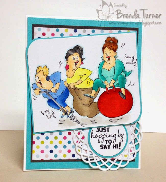 Art Impressions Hop Hop Set. Ai Girlfriends series. Handmade friendship card.