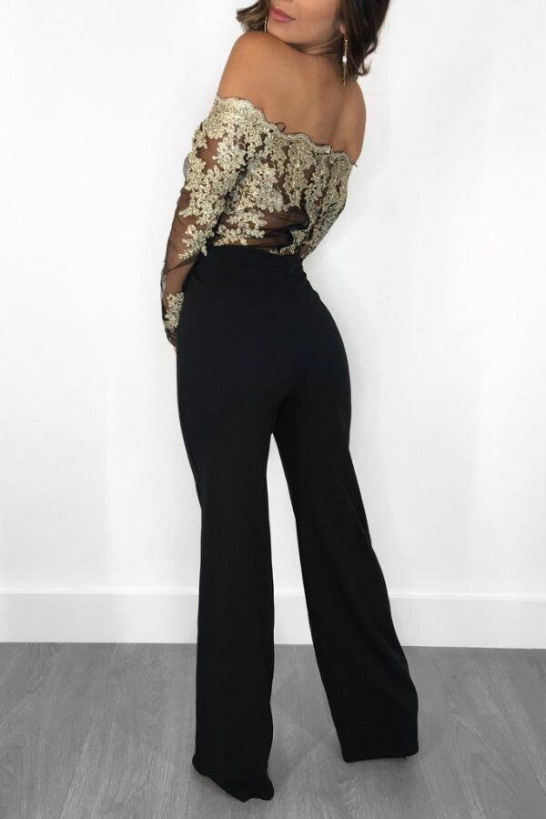 Tuta pizzo donna elegante jumpsuit party nera overall party rompers discoteca