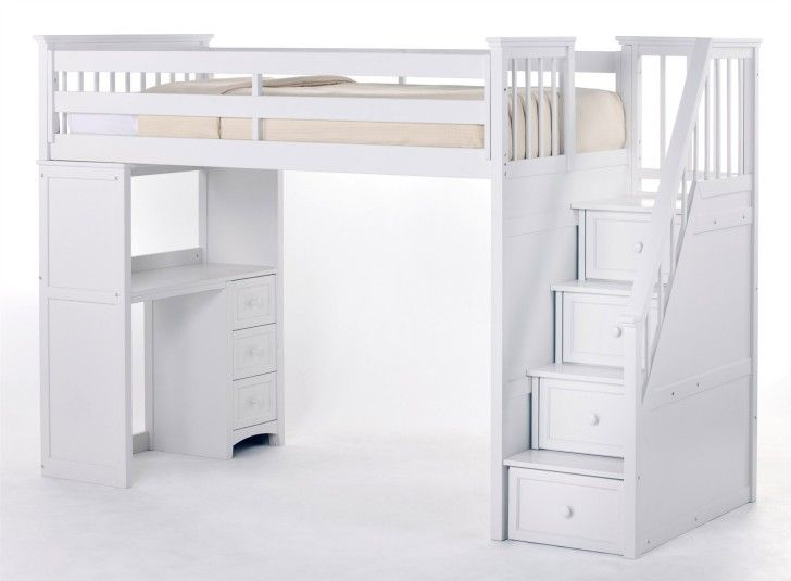 Bedroom. The Best Choices Of Loft Beds With Desks For Small Room Decorating. White Stained Wooden Loft Bunk Bed With Stair And Desk Using White Bed Linen And Soft Pink Blanket As Well As Day Beds And Desk Bunk Beds